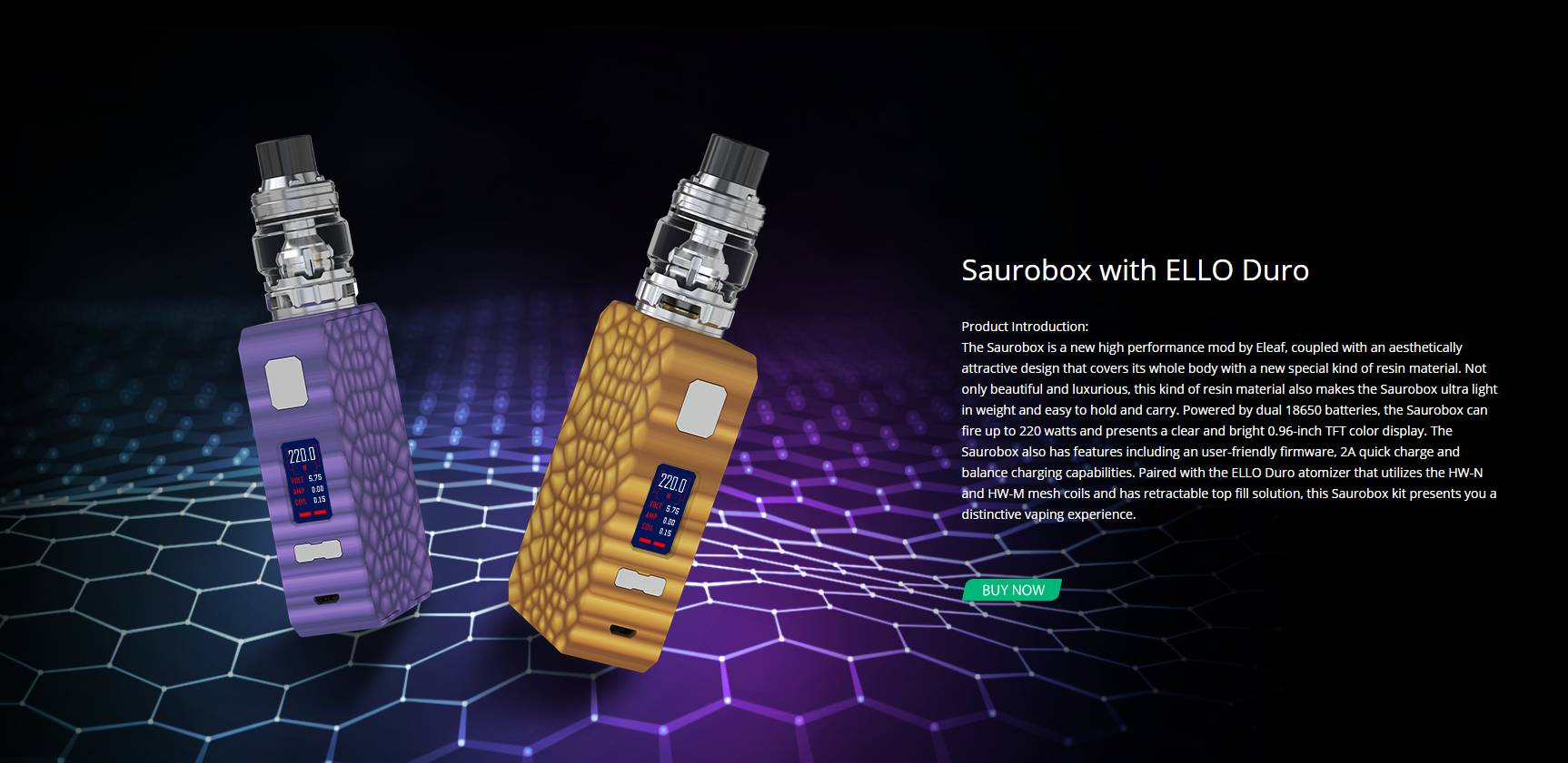 Eleaf Saurobox 220W with ELLO Duro Starter Kit